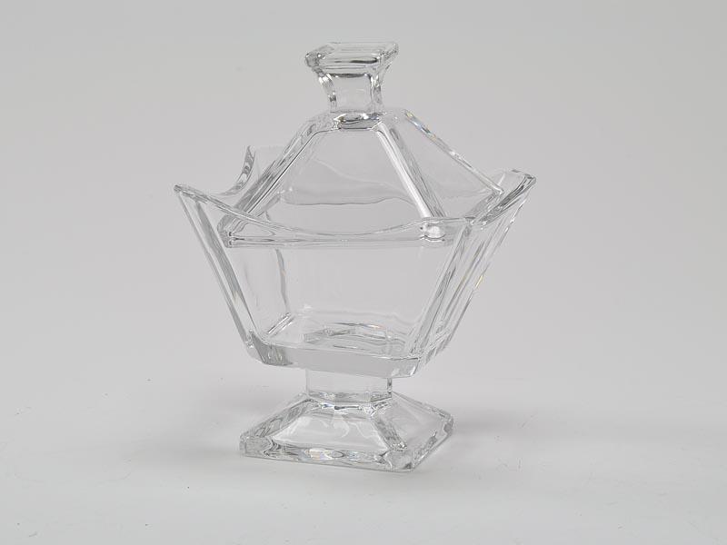 bomboniera bomboniere vetro con coperchio quadrata nozze anniversario