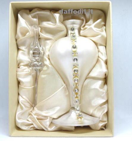 Bottiglia vetro bianca strass