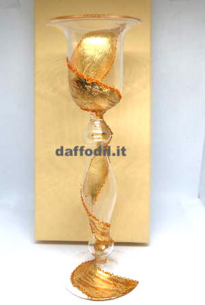 Portacandela in vetro fascia Oro
