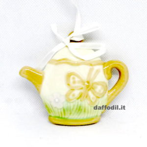 Appendino teiera farfalla in porcellana