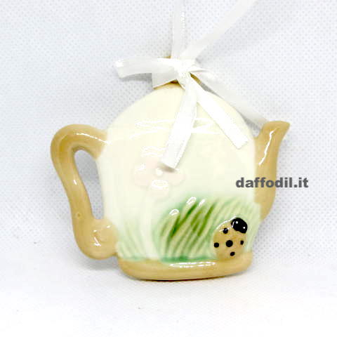 Appendino teiera coccinella in porcellana