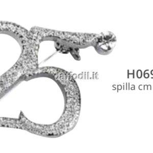 Spilla 25° anniversario argento con strass