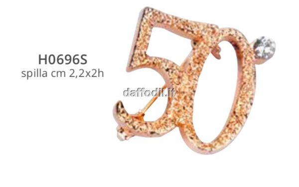 Spilla 50° anniversario oro con strass