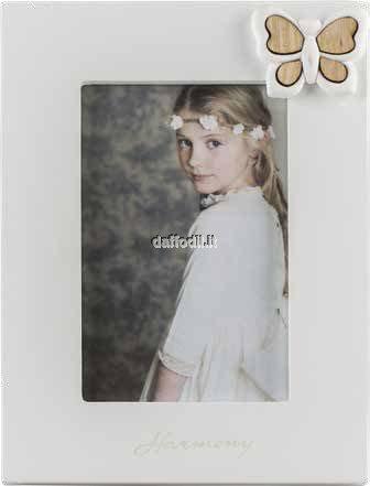 Harmony Portafoto in legno laccato bianco con gessetto Farfalla