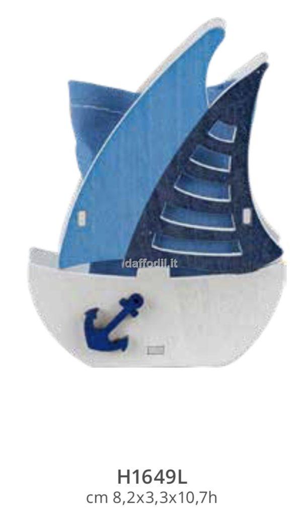 Harmony Veliero in legno intagliato bianco /Blue con sacchetto blue