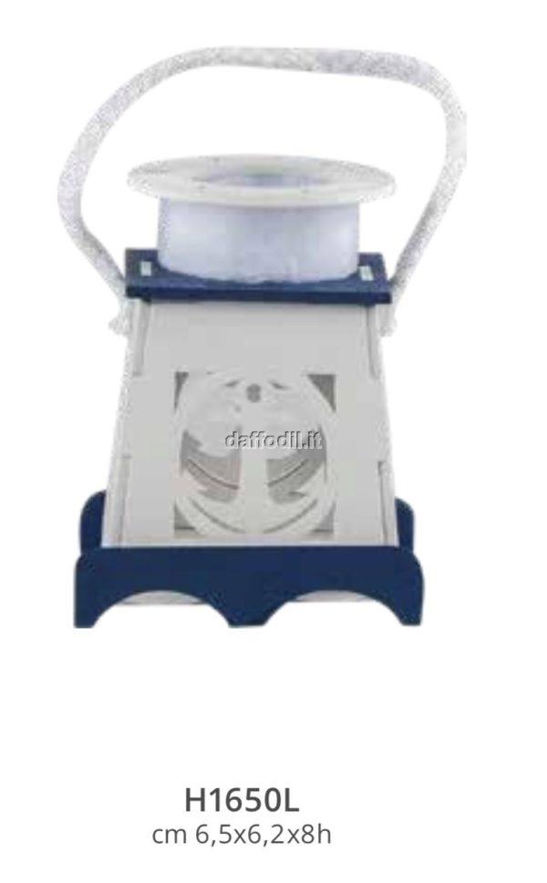 Harmony Lanterna in legno intagliato bianco /Blue con sacchetto