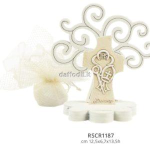 Harmony Albero della Vita legno con croce comunione cresima