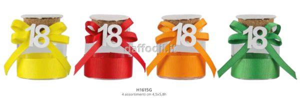 Harmony Barattolino vetro per 18° compleanno 4 colori assortiti