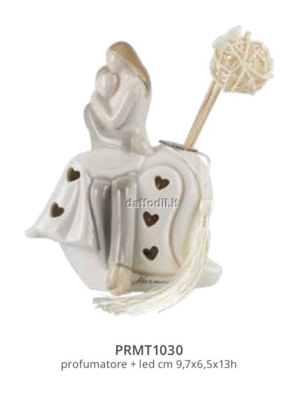 Harmony profumatore sposi su cuore piccolo in porcellana con led