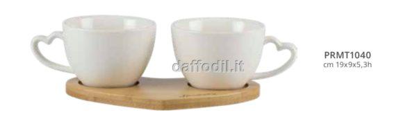 Harmony set 2 tazzine cuori bianche in porcellana con basetta bamboo