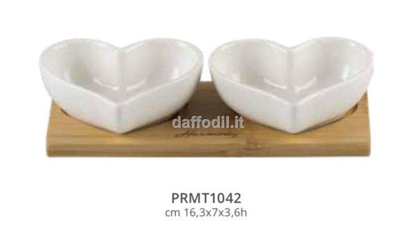 Harmony set antipastiere cuori bianchi in porcellana con basetta bamboo