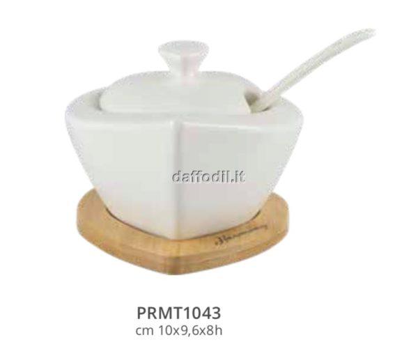 Harmony zuccheriera bianca in porcellana con basetta bamboo