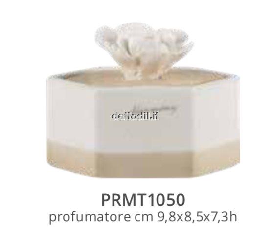 Harmony profumatore scatola esagonale in porcellana e fiore
