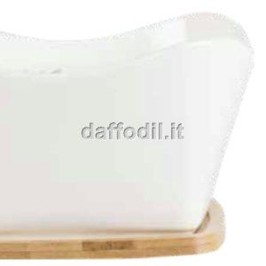 Harmony svuota tasche bianco in porcellana con basetta bamboo