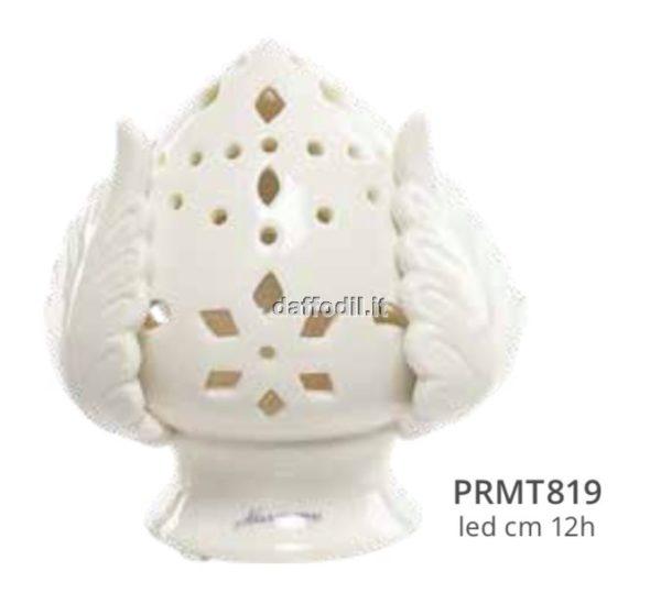 Harmony pomo bianco traforato piccolo in porcellana con led