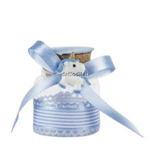Sacchetto confetti nascita battesimo azzurro barattolo vetro unicorno