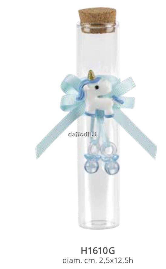 Sacchetto confetti nascita battesimo azzurro fialetta vetro unicorno