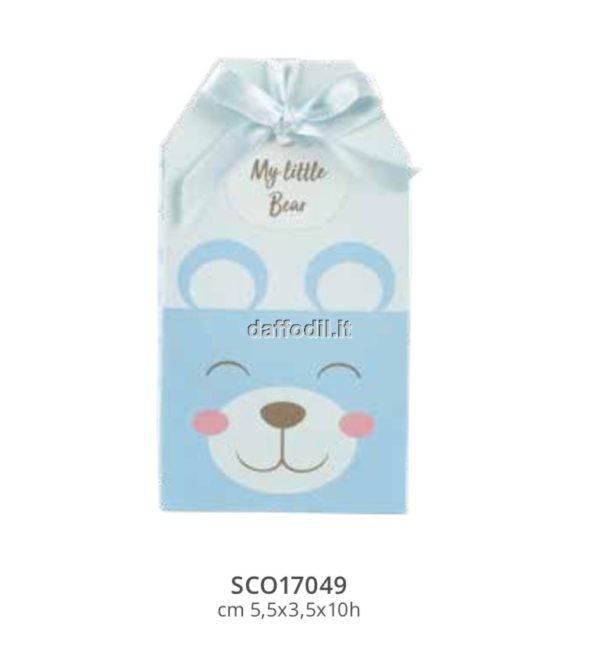 Sacchetto confetti nascita battesimo azzurro scatoline orsetto
