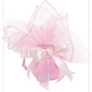 Sacchetto confetti nascita battesimo rosa in tessuto