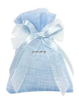 Sacchetto confetti nascita battesimo azzurro in tessuto gessetto