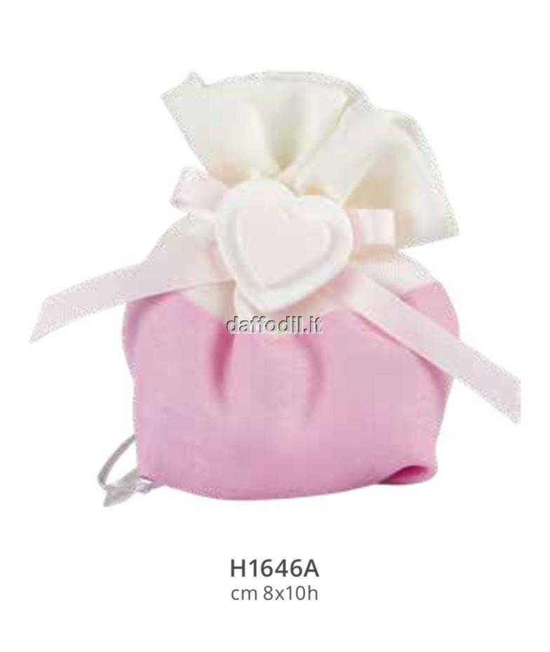 Sacchetto confetti nascita battesimo rosa in tessuto unicorno