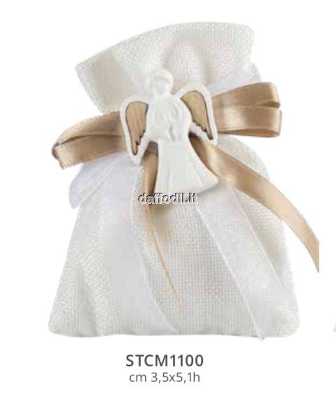 Sacchetto confetti in tessuto comunione cresima Harmony gessetto angelo
