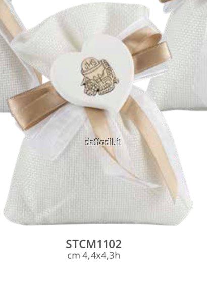 Sacchetto confetti in tessuto comunione cresima Harmony gessetto farfalla