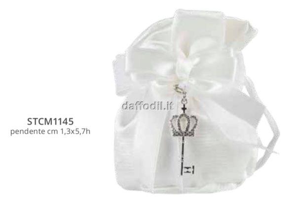Harmony pochette bianco con pendente chiavetta con strass