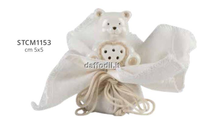 Sacchetto confetti in tessuto comunione cresima Harmony fazzoletto con elefante porcellana