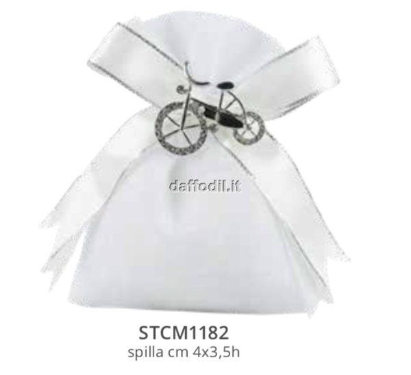 Harmony sacchetto bianco con pendente bicicletta