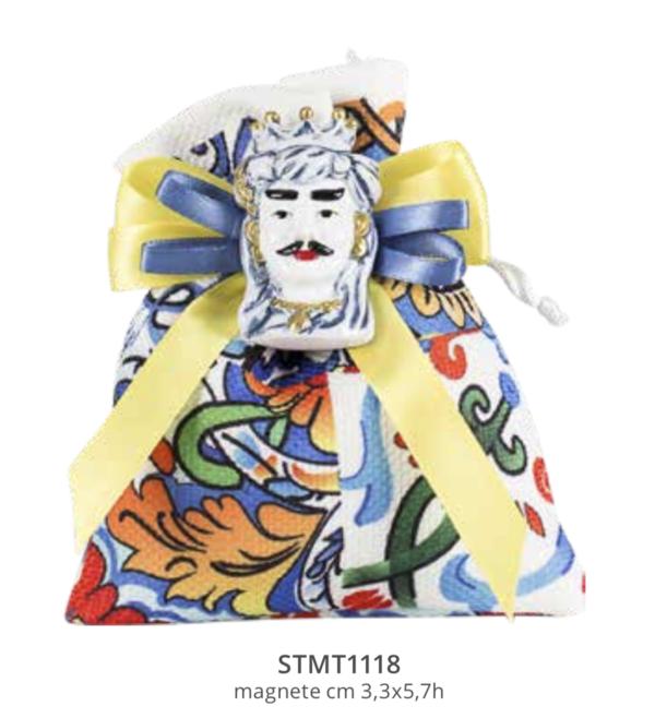 Harmony sacchetto tessuto stampato maiolica sicilia con magnete moro blu/oro