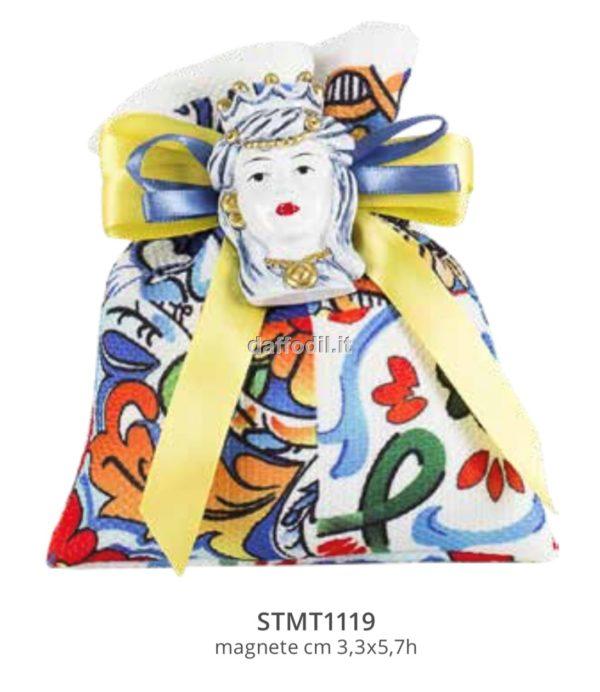 Harmony sacchetto tessuto stampato maiolica sicilia con magnete mora blu/oro