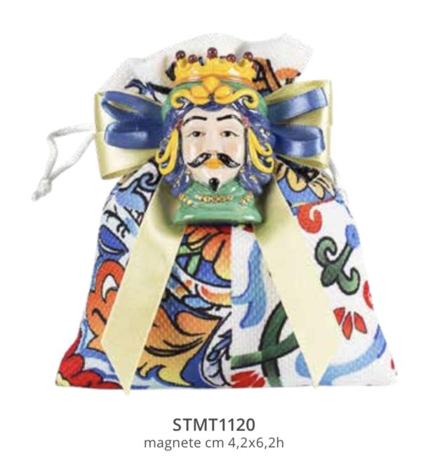 Harmony sacchetto tessuto stampato maiolica sicilia con magnete moro colorato