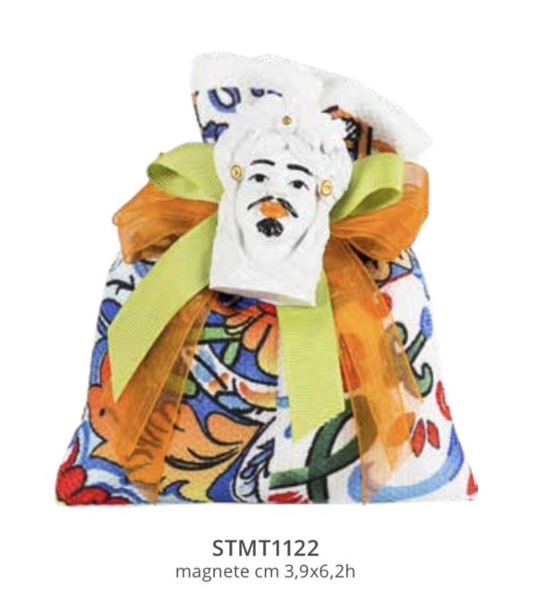 Harmony sacchetto tessuto stampato maiolica sicilia con magnete moro bianco
