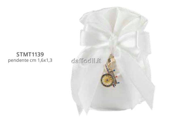 Harmony pochette bianco con pendente carrettino siciliano oro con strass