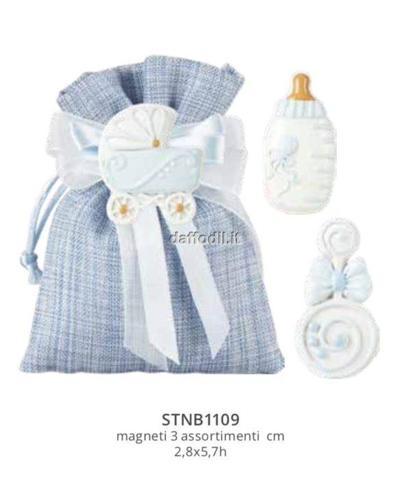 Sacchetto confetti nascita battesimo azzurro in tessuto magnete Baby Boy