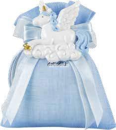 Sacchetto confetti nascita battesimo azzurro in tessuto unicorno