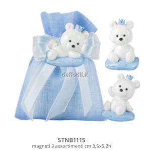 Sacchetto confetti nascita battesimo azzurro in tessuto magnete orsetto