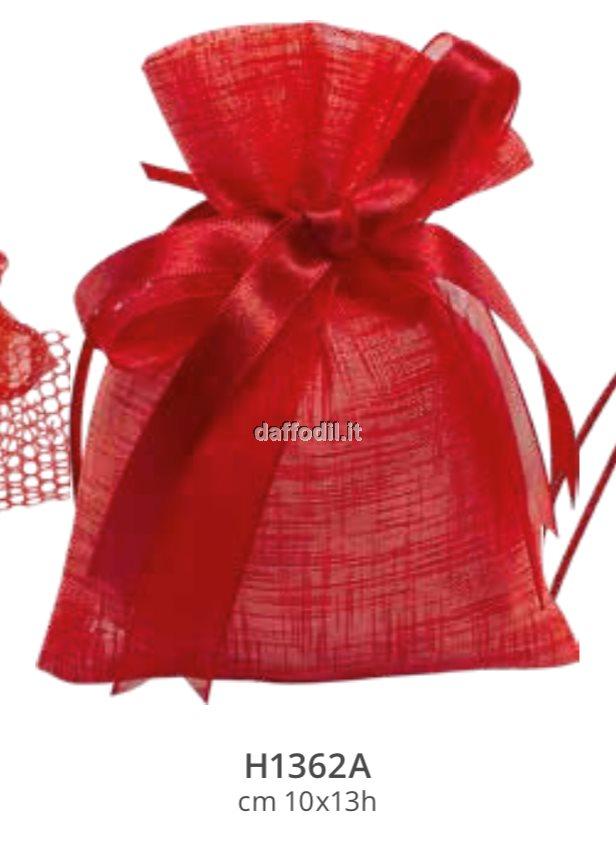 Sacchetto confetti Laurea Harmony Sacchetto Rosso Tipo Lino con tirante