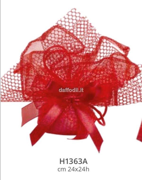 Sacchetto confetti Laurea battesimo rosso in tessuto