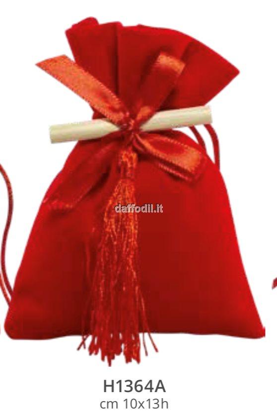 Sacchetto confetti Laurea Harmony Sacchetto Rosso in Velluto pergamena e nappina