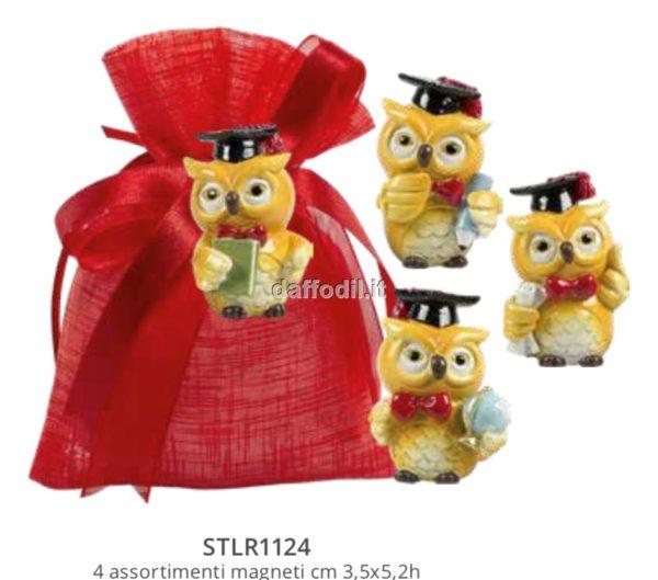 Sacchetto confetti Laurea Harmony Sacchetto Rosso Tipo Lino con magnete Gufo laurea