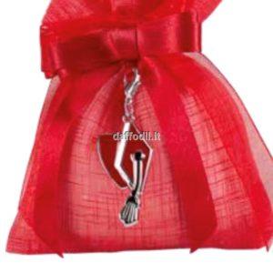 Sacchetto confetti Laurea Harmony Sacchetto Rosso Tipo Lino con pendente Tocco Laurea