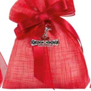 Sacchetto confetti Laurea Harmony Sacchetto Rosso Tipo Lino con pendente Pergamena Laurea