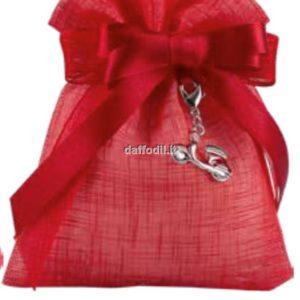 Sacchetto confetti Laurea Harmony Sacchetto Rosso Tipo Lino con pendente Vespa rossa