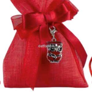 Harmony Sacchetto Rosso Tipo Lino con pendente Gufetto Laurea