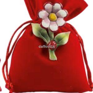 Harmony Sacchetto Rosso Tipo Lino con fiore porcellana