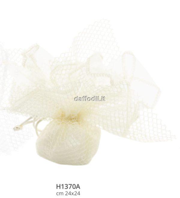 Sacchetto confetti Harmony fazzoletto rete crema con tiranti