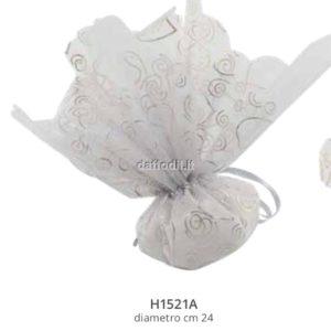 Sacchetto confetti nozze Harmony fazzoletto argento glitterato con tirante