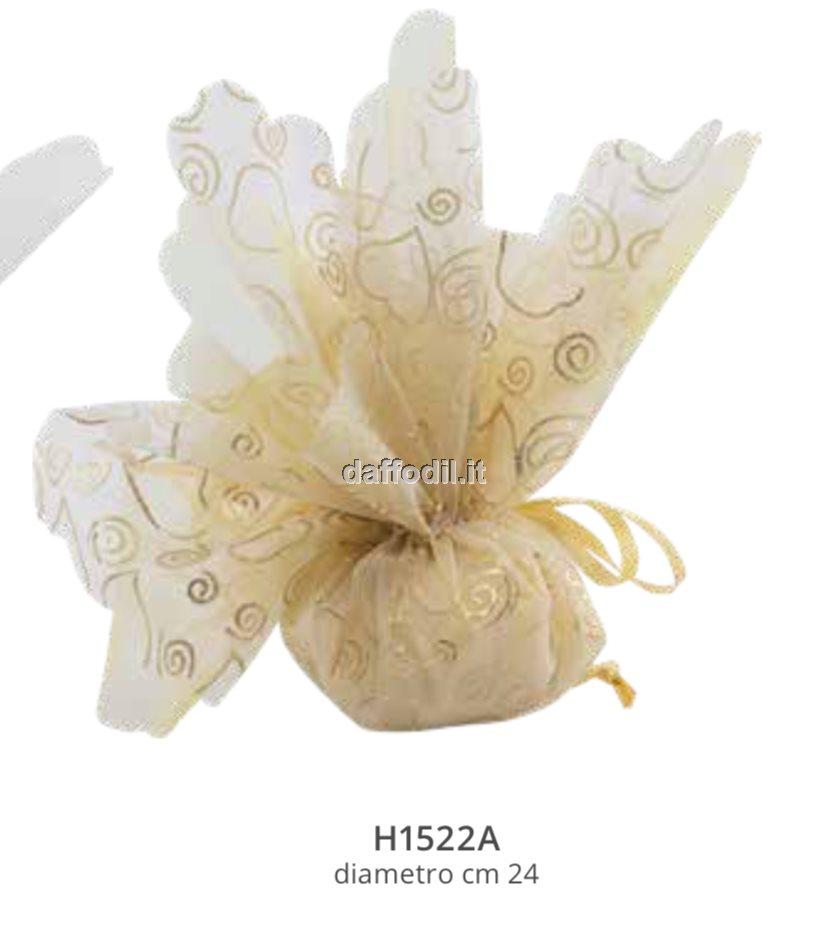 Sacchetto confetti nozze Harmony fazzoletto oro glitterato con tirante